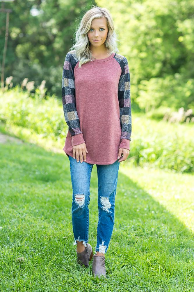 All Time Prettiest Plaid Long Sleeve Top - Filly Flair