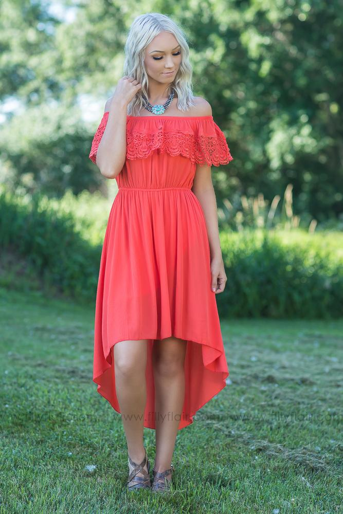 We Both Know Off the Shoulder Hi Low Dress - Filly Flair