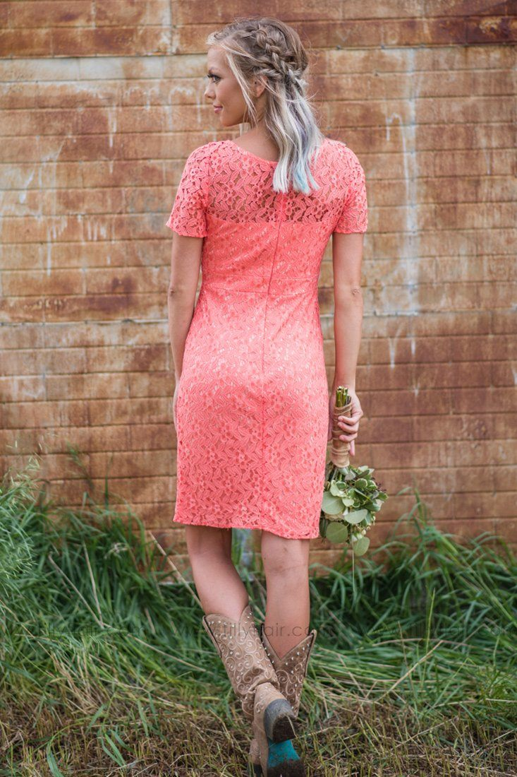 Charlotte Bridesmaid Dress in Coral - Filly Flair