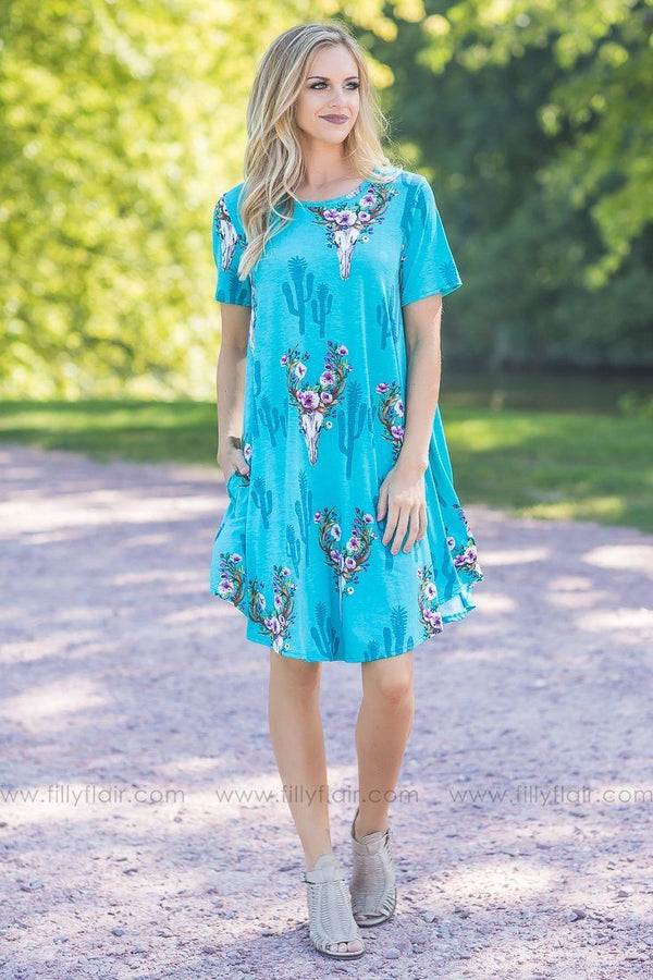 teal bull skull printed shift dress