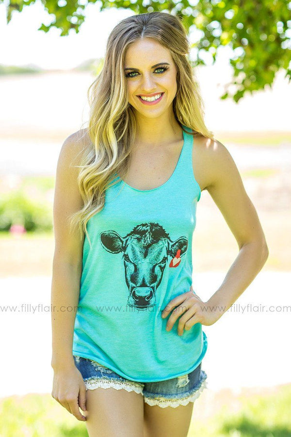 Cow Love Turquoise Tank