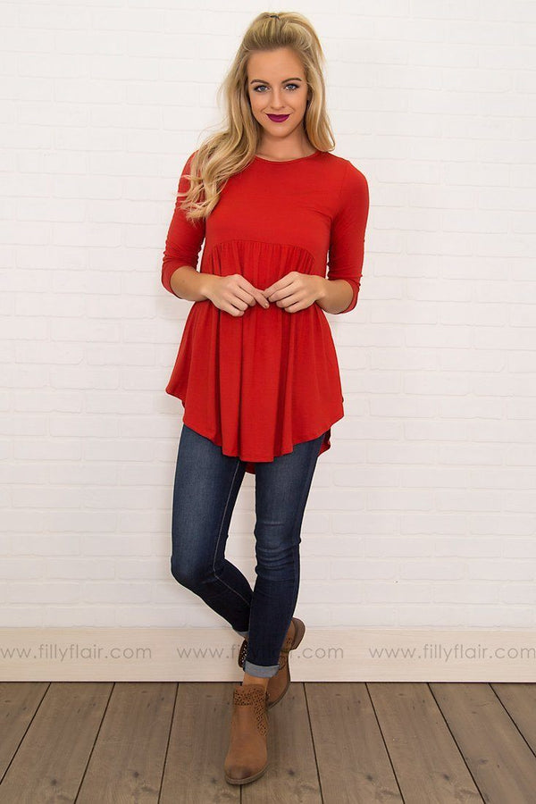 Bittersweet Baby Doll Top in Crimson