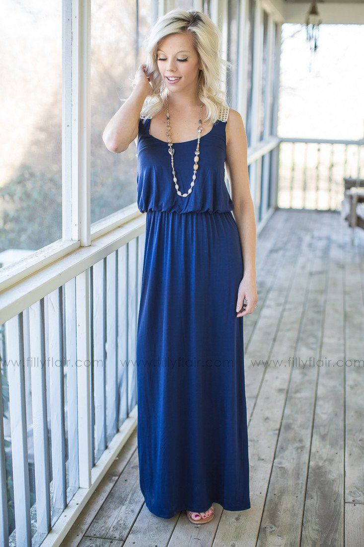 Simple Pleasure Crochet Maxi Dress in Navy