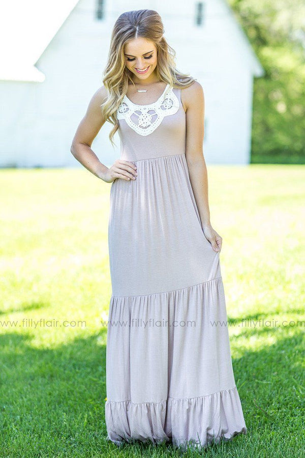 Sleeveless Maxi Dress with Ivory Crochet in Taupe
