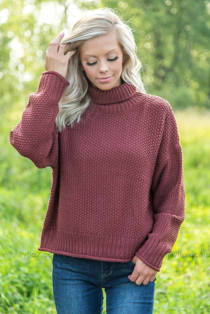 Easy Going Beauty Turtle Neck Sweater in Rosewood - Filly Flair