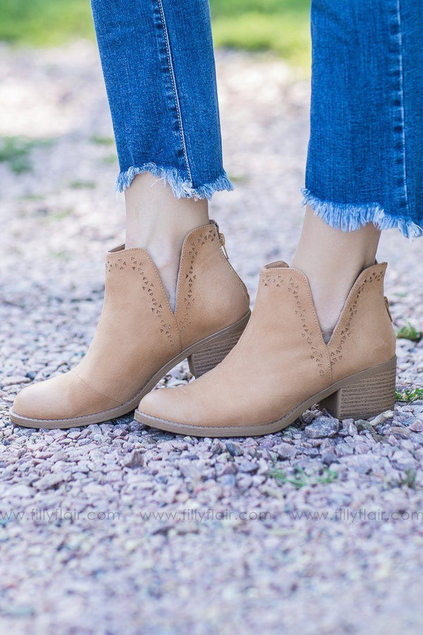 tan distressed booties