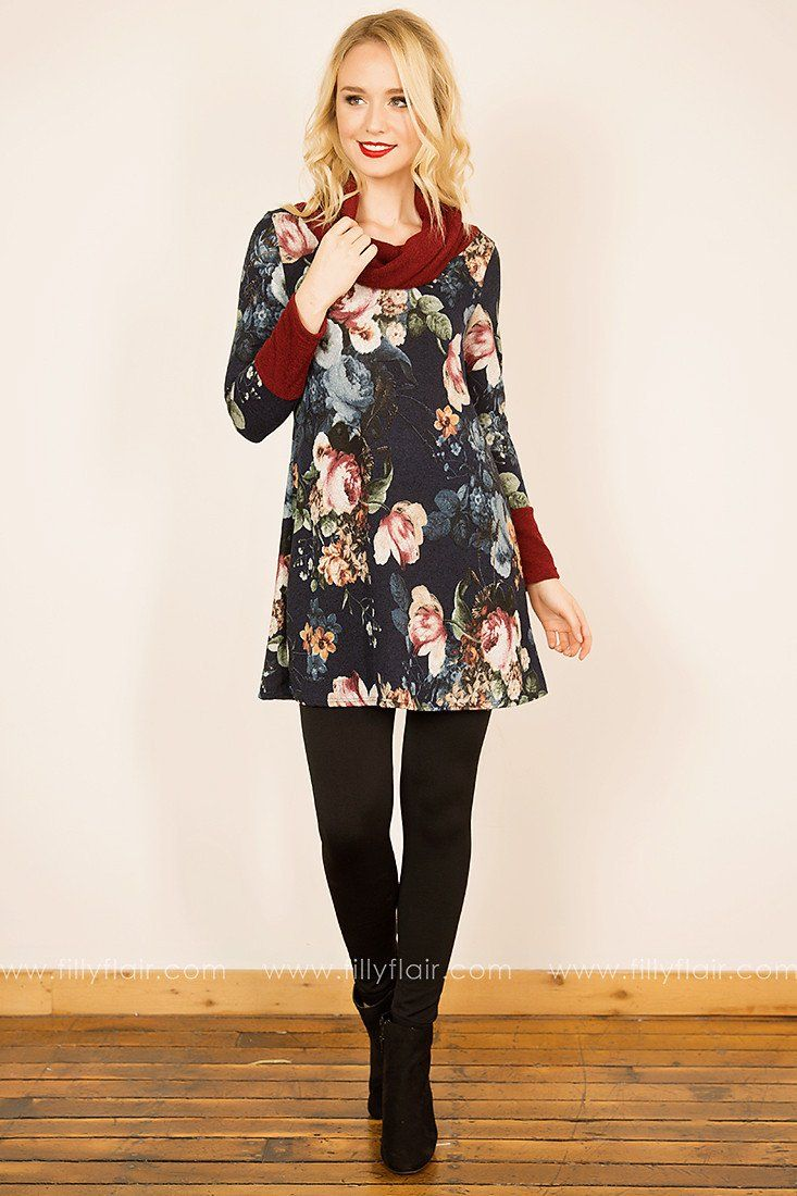 Midnight Dream Floral Cowl Neck Tunic in Navy