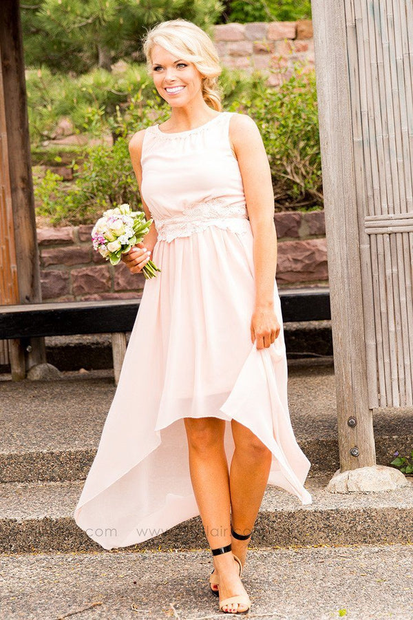 Catherine High Low Bridesmaid Dress in Blush