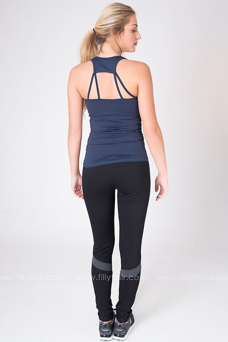 Downward Dog Criss Cross Tank in Navy