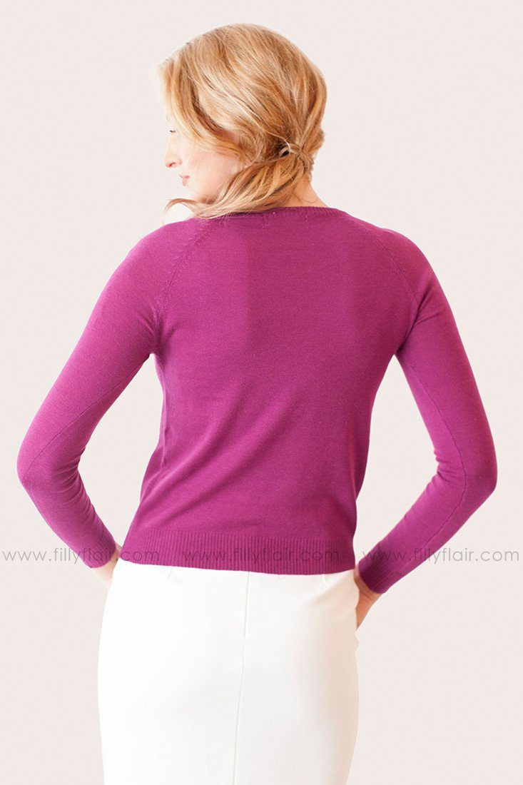 Capable and Classy Sweater in Fuchsia