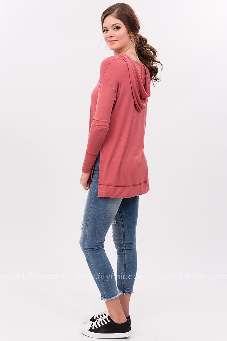 Easy Breezy Long Sleeve Hoodie in Marsala