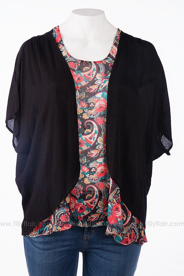 Simply Said Cardigan in Black: Plus
