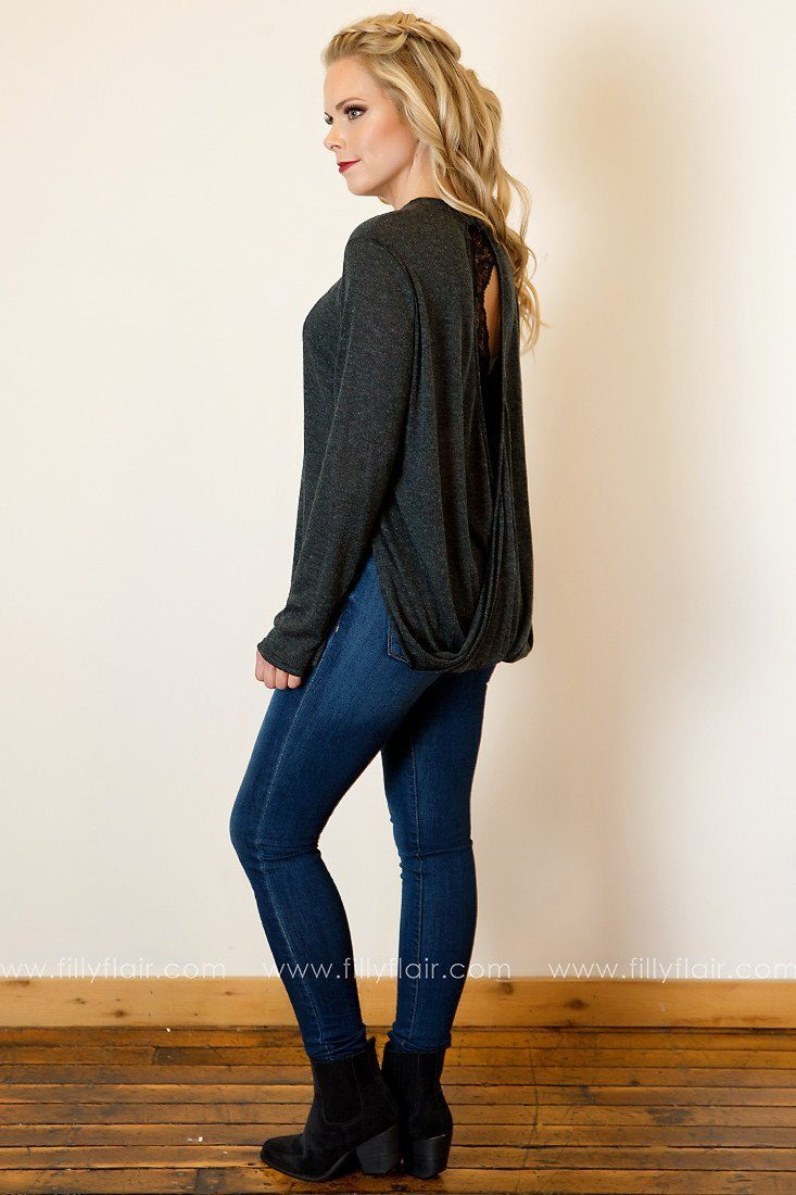 Sweet Moments Long Sleeve Wrap Back Top in Charcoal
