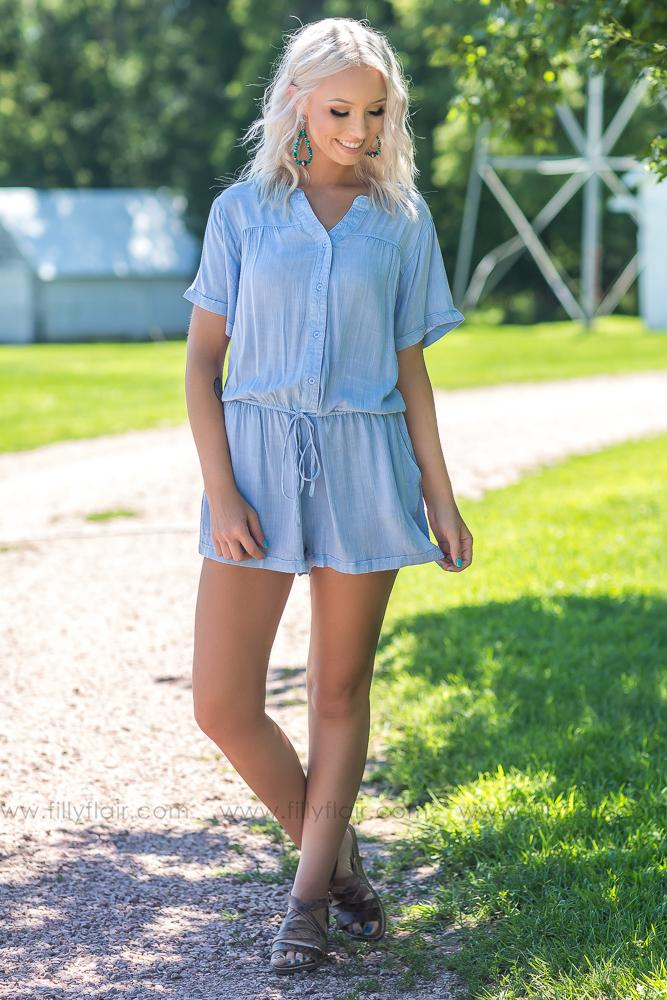 Never Ending Sky Romper in Washed Light Blue - Filly Flair