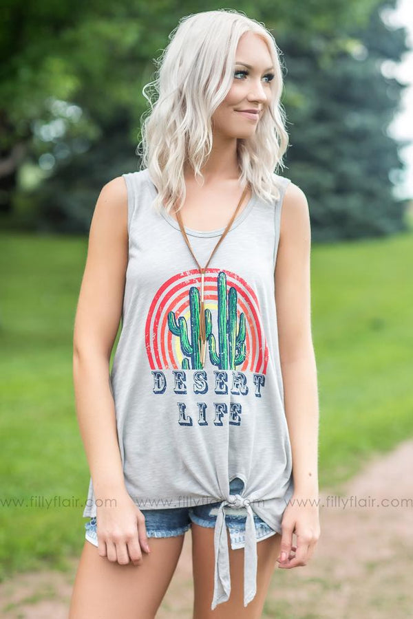 """Desert Life"" Knotted Graphic Tank Top in Grey - Filly Flair"