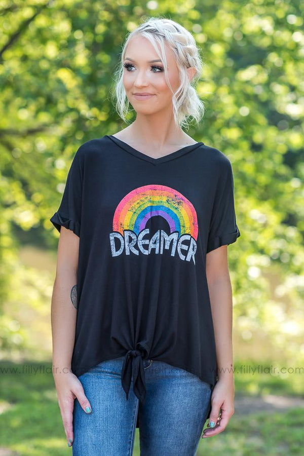 Be a Dreamer Knot Tee in Black - Filly Flair