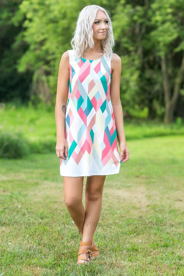 Like You Printed Dress in Multi Color Coral Jade - Filly Flair