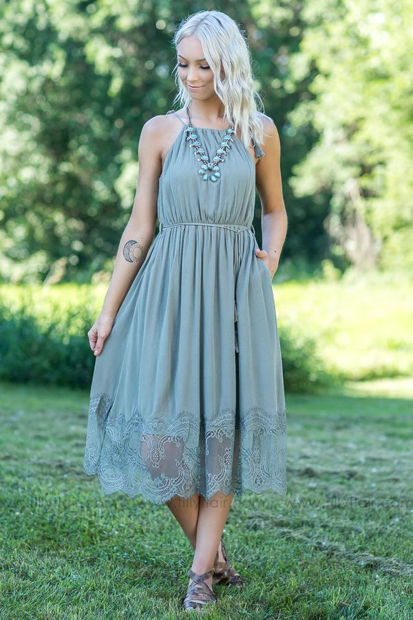 In Love Again Lace Hem Dress in Olive - Filly Flair