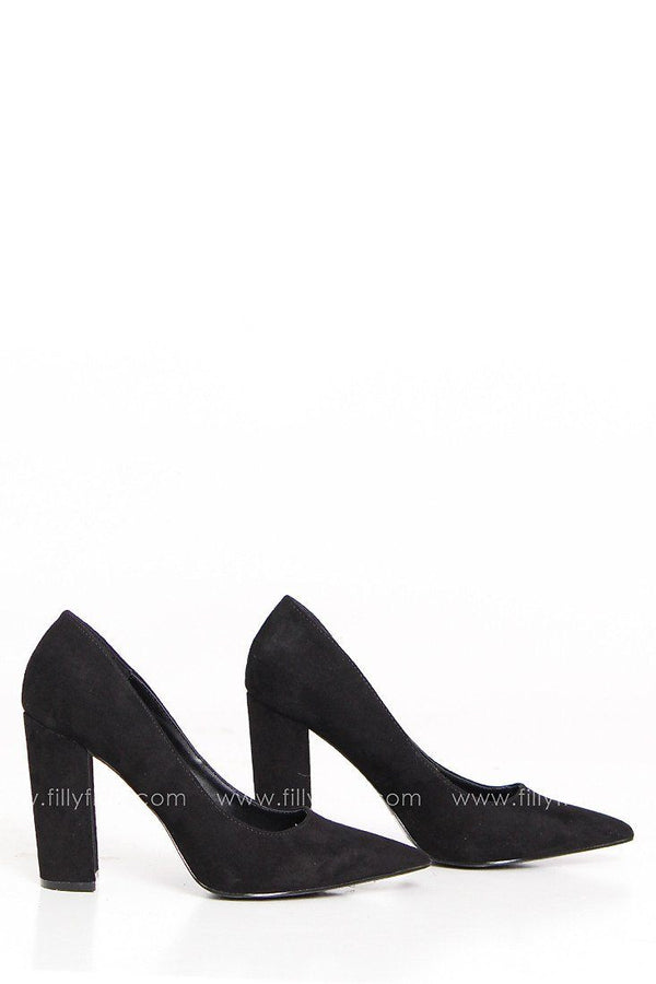 Festive Feeling Suede High Heels in Black
