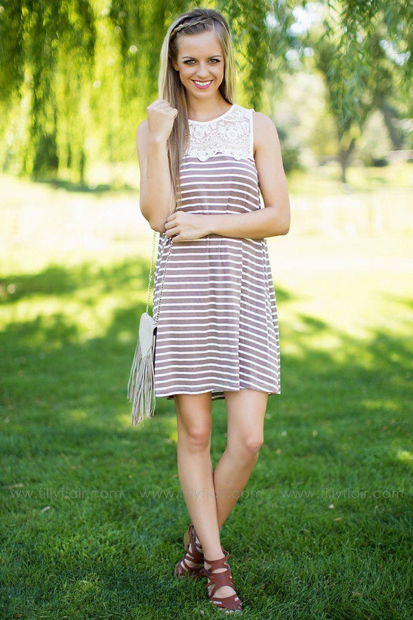Keep on Dreaming Striped Tank Dress in Taupe