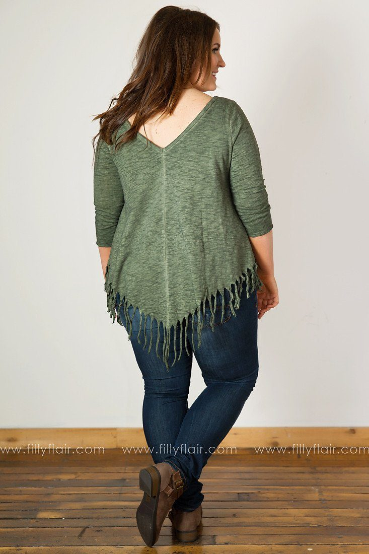 Free Heart Fringed Elbow Sleeve Top in Olive