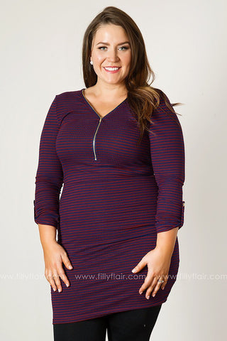 Modern Love Striped Zip Collar Long Sleeve in Navy and Burgundy