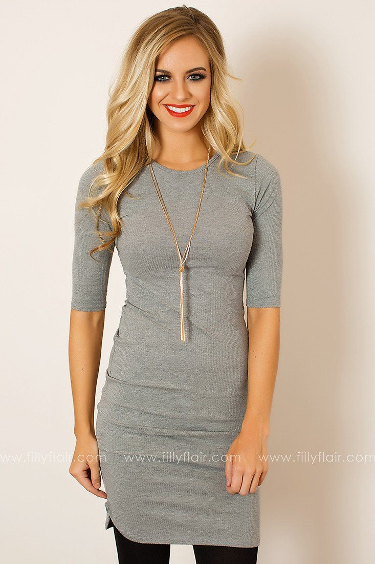 Blank Palette 3/4 Sleeve Dress in Heather Grey
