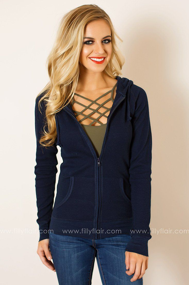 Casual Chic Hoodie in Navy