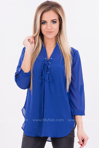 Sweet Sunset Long Sleeve Lace Up Top in Cobalt - Exclusive