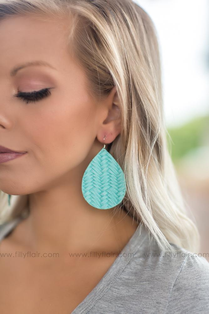 Stitched Together Mint Teardrop Leather Earrings - Filly Flair