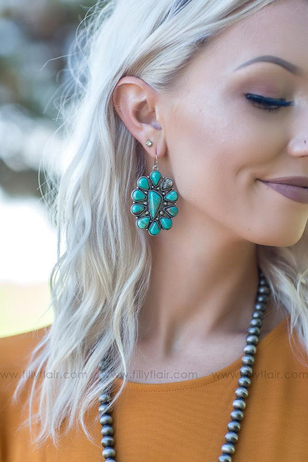 Lifts You Up Authentic Turquoise Stone Earrings - Filly Flair