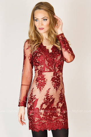 Joyful Moment Long Sleeve Lace Dress in Burdundy