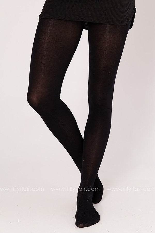 Classic High Waisted Pantyhose in Black