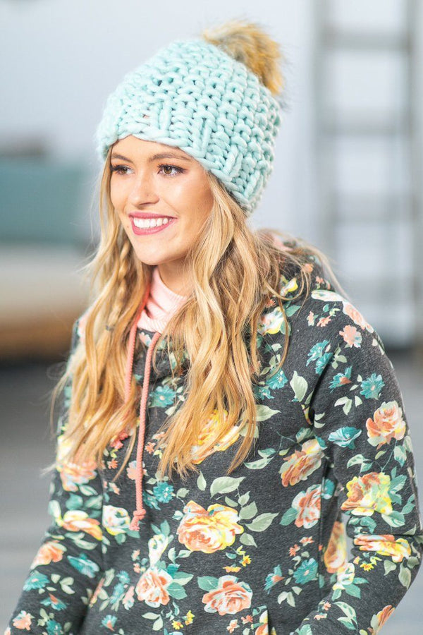 Cool Weather Cable Knit Beanie in Mint - Filly Flair