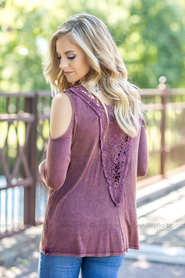 Downtown Girl Burgundy Cold Shoulder Long Sleeve Top