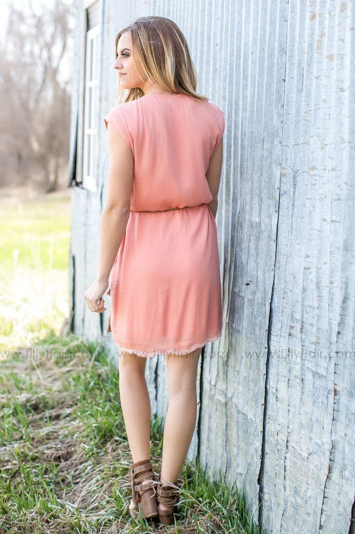 Sun Kissed Embroidered Dress in Coral