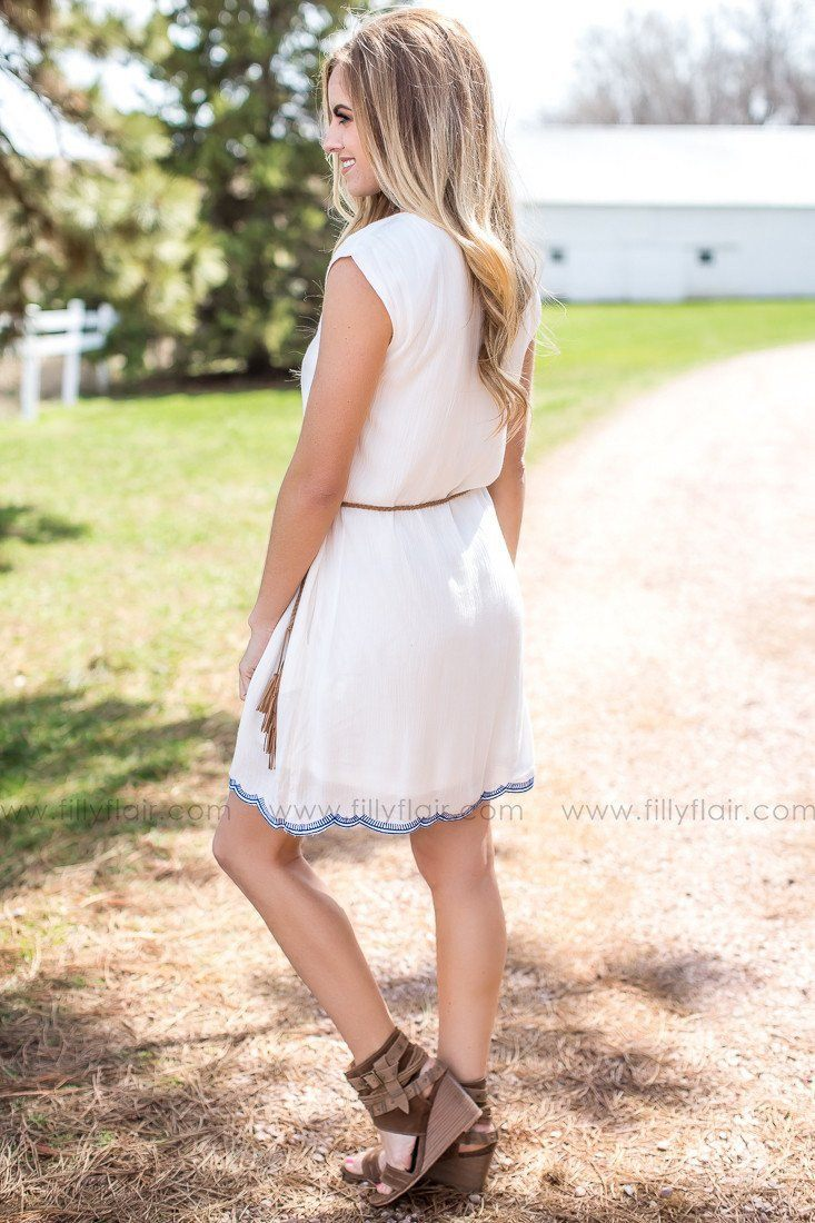 Sun Kissed Embroidered Dress in White