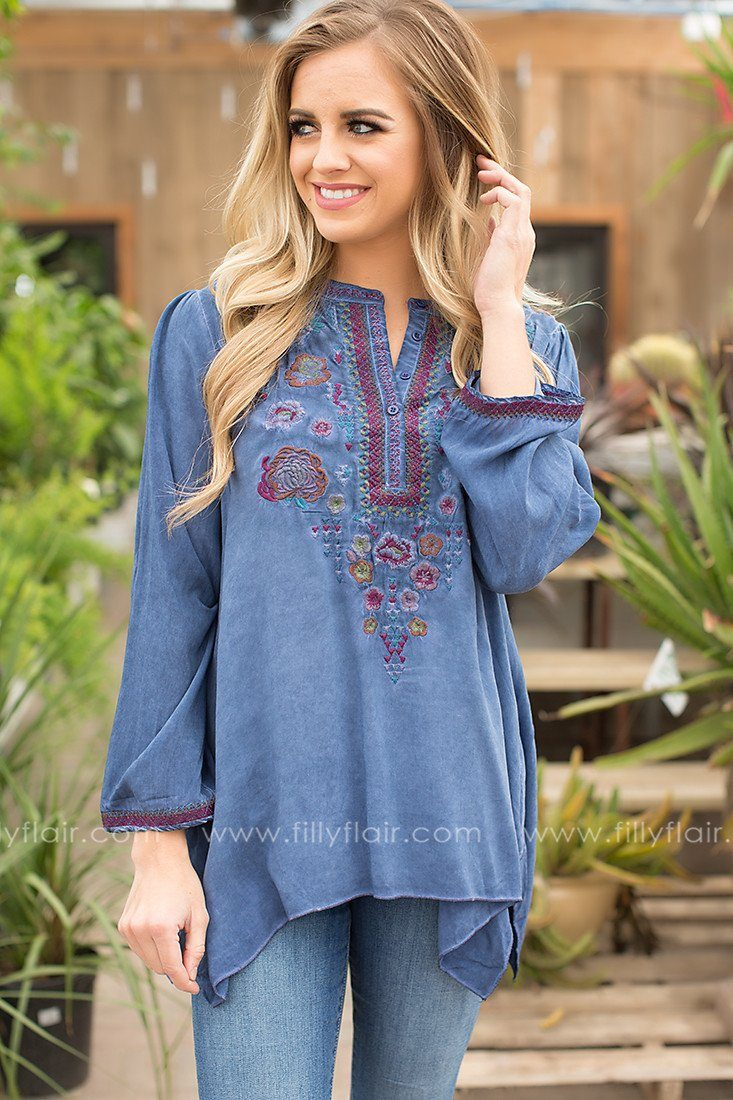Creative Spirit Embroidered V-Neck Top