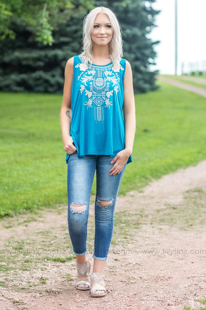 She's Country Embroidered Tank Top in Turquoise - Filly Flair