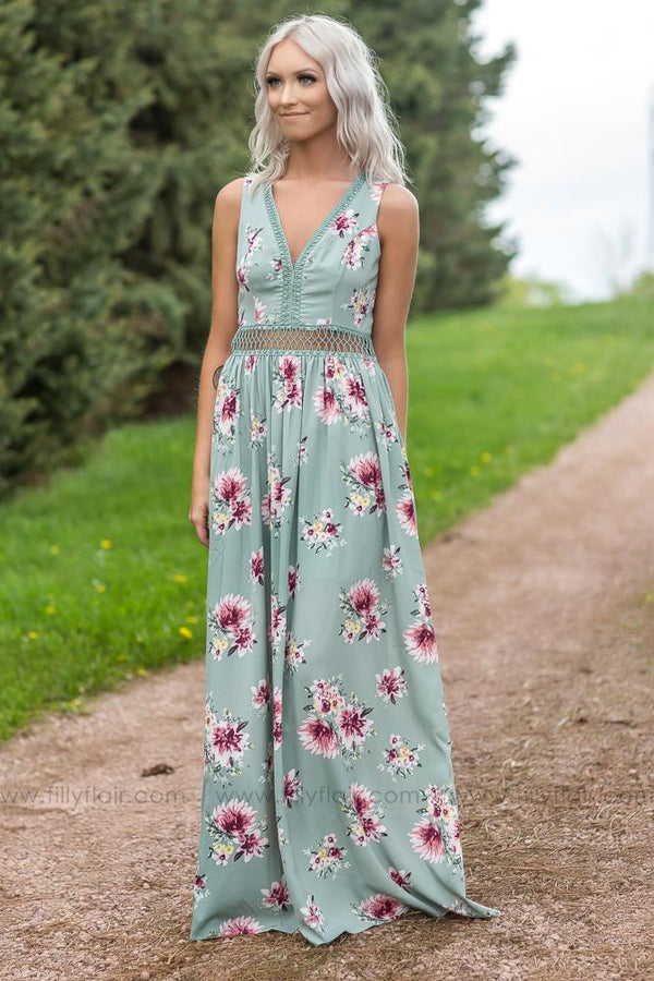 The Comeback Filly Flair Exclusive Sage Floral Maxi Dress