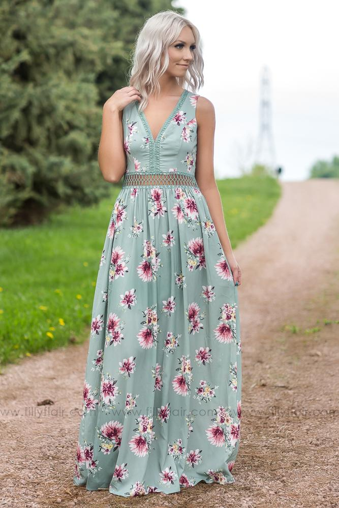 The Comeback Filly Flair Exclusive Floral Maxi Dress In Sage - Filly Flair