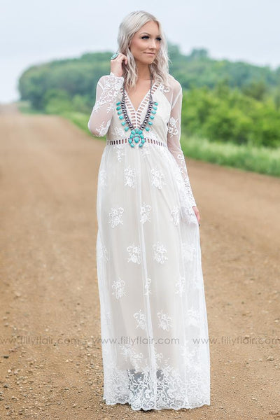 Eternal Love Lace Cut Out Maxi Dress In Ivory - Filly Flair