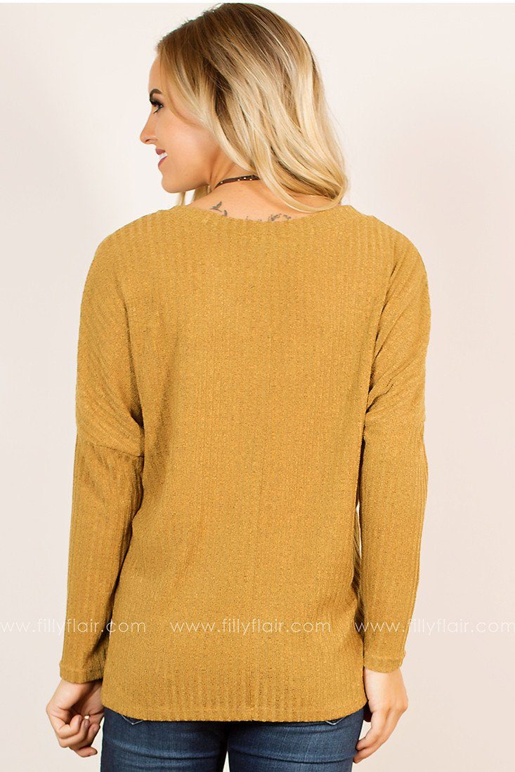 Energy V-neck Dolman Sweater in Mustard