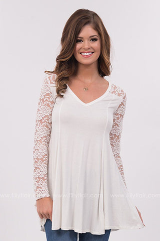 In Paradise Long Sleeve Lace Tunic in White
