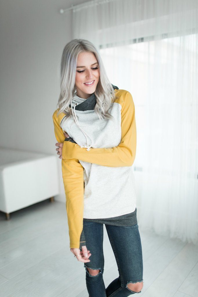 Endless Weekend Double Hoodie Sweatshirt in Mustard - Filly Flair