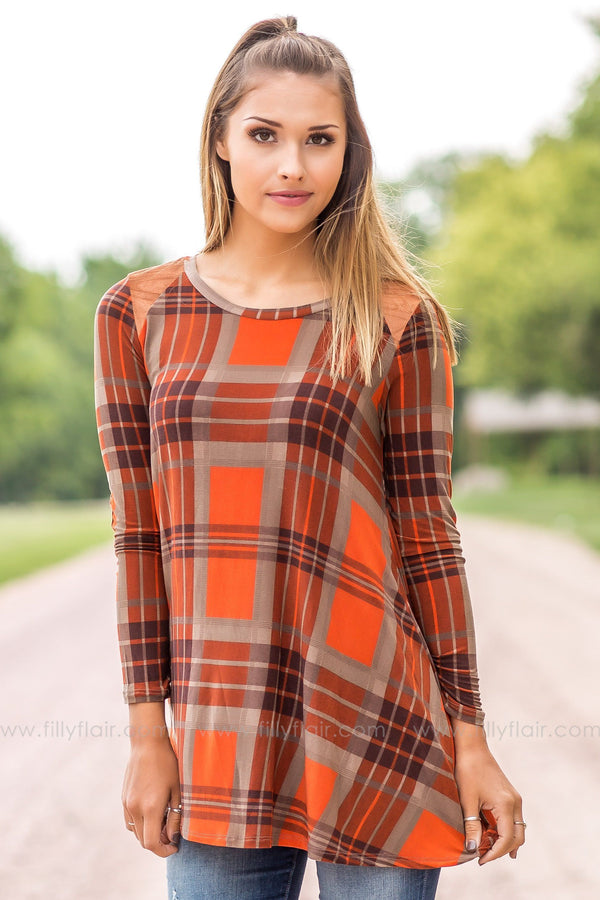 plaid printed top