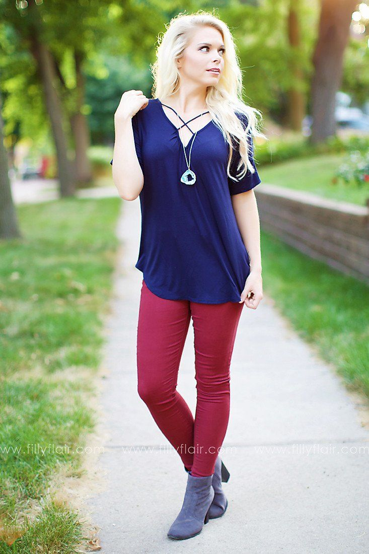 Fall Up Skinny Jeans in Burgundy
