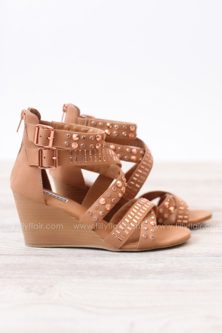 Clear Clarity Straps Wedge in Rose Gold