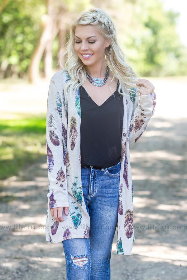 Feather In The Wind Taupe Cardigan - Filly Flair