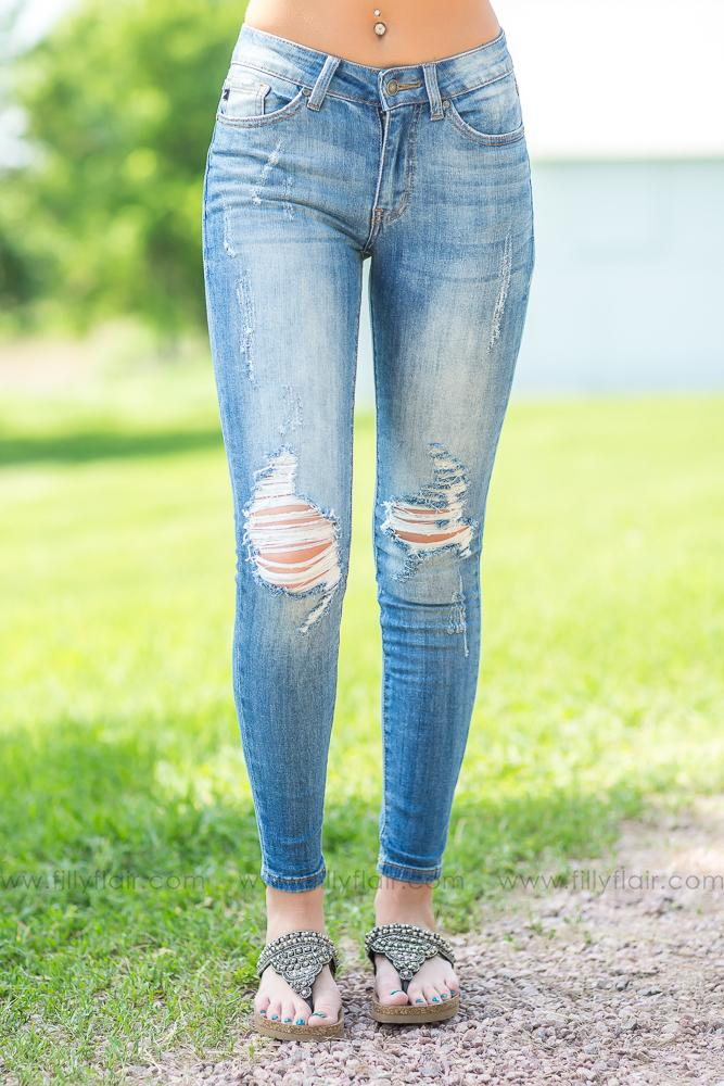 Easy Days KAN CAN Medium Wash Medium Rise Distressed Jeans - Filly Flair